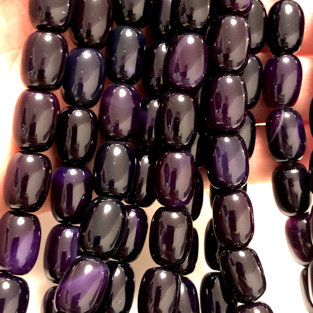 Purple Agate Gemstone Large Drop Beads, 28 Beads
