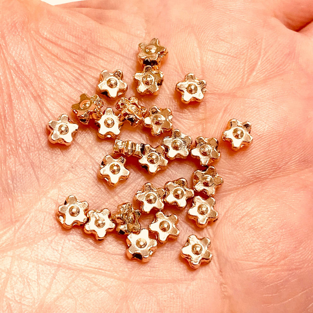 5mm Rose Gold Plated Brass Spacers, Rose Gold Spacer Charms, 25 pcs in a pack