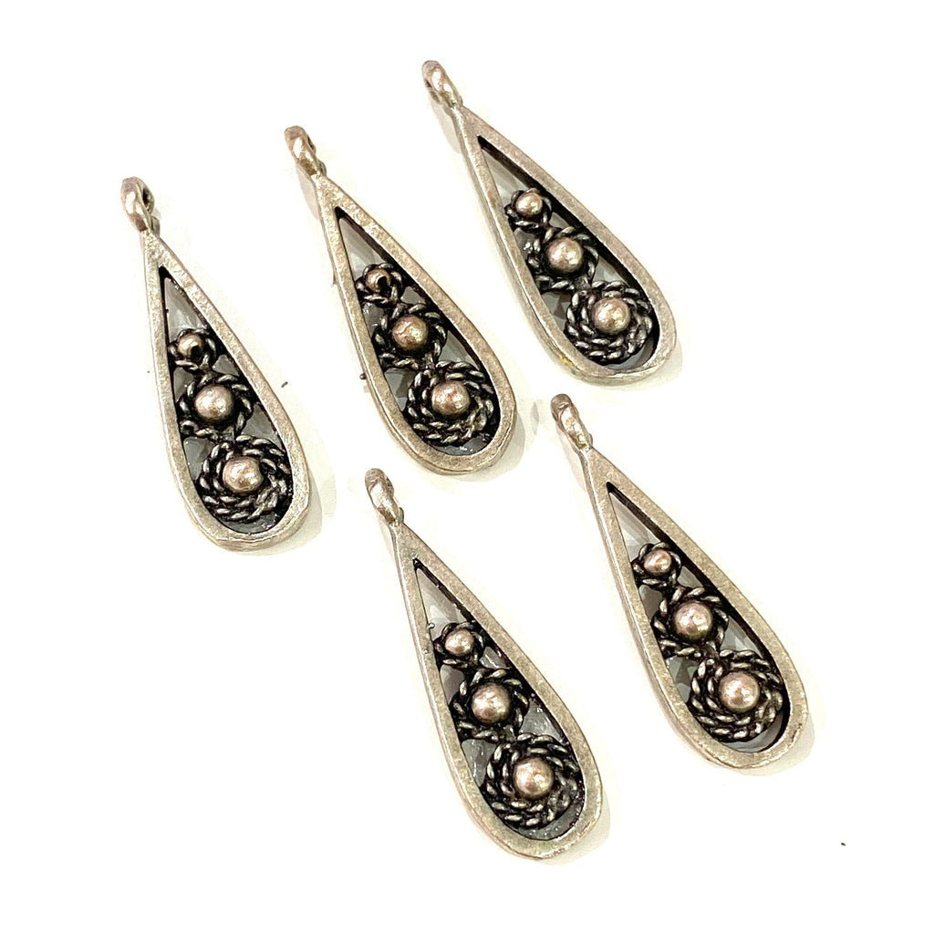 Silver Plated Drop Charms, 2.5 cm, 5 pieces in a pack,