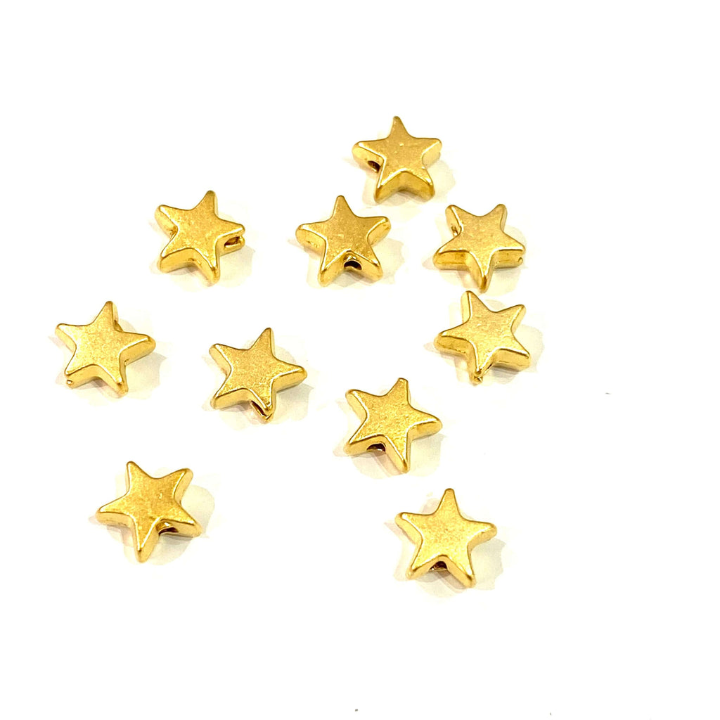 24Kt Matte Gold Plated Star Spacer Charms, Gold Star Charms, 10 Pcs in a Pack