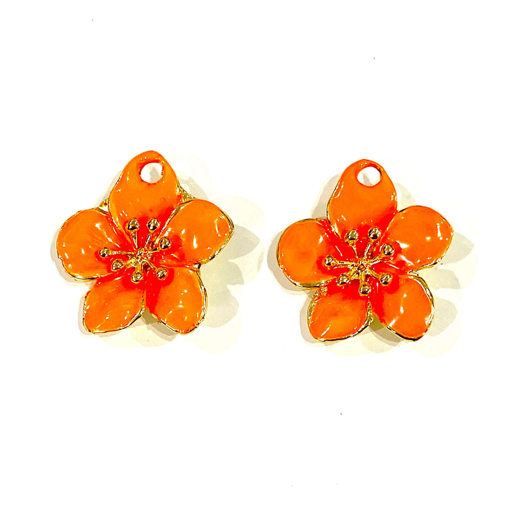 24Kt Gold Plated Enamelled Lucky Flower Charms, 2 pcs in a pack
