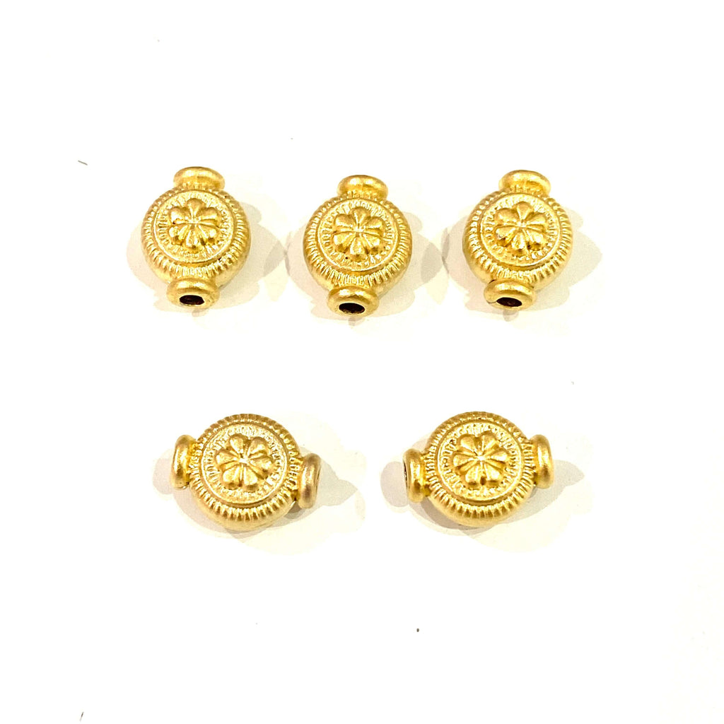 24Kt Matte Gold Plated Authentic Spacer Charms, Gold Authentic Charms, 5 Pcs in a Pack
