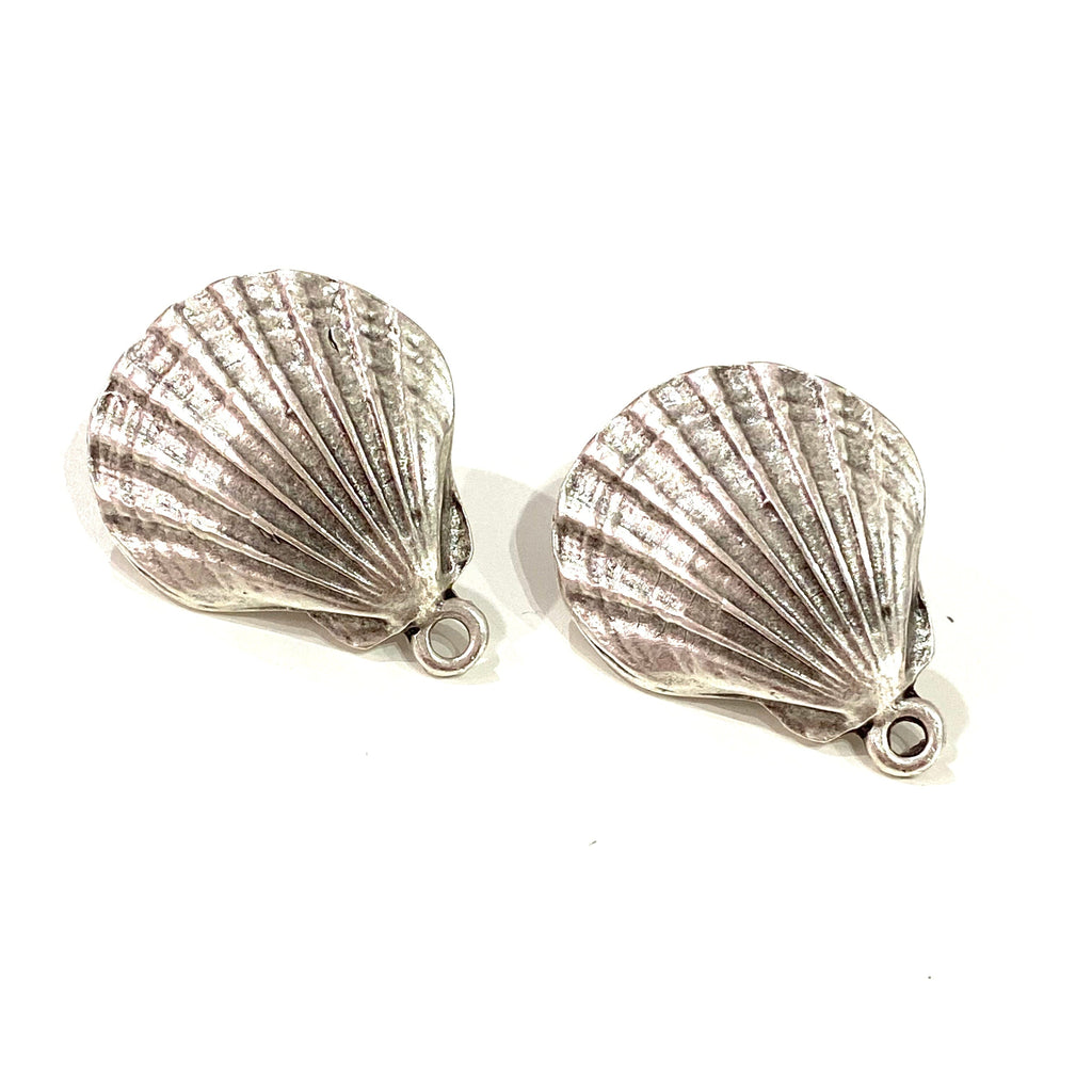 Silver Plated Oyster Stud Earrings, 2 pcs in a pack,