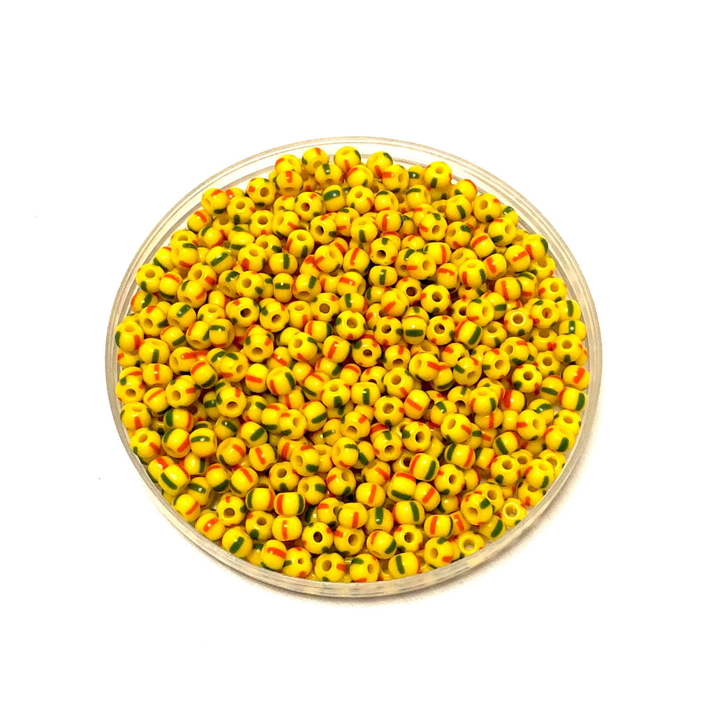 Preciosa Seed Beads 6/0 Rocailles-Round Hole 20 gr, 83590 Red and Green Stripes on Yellow