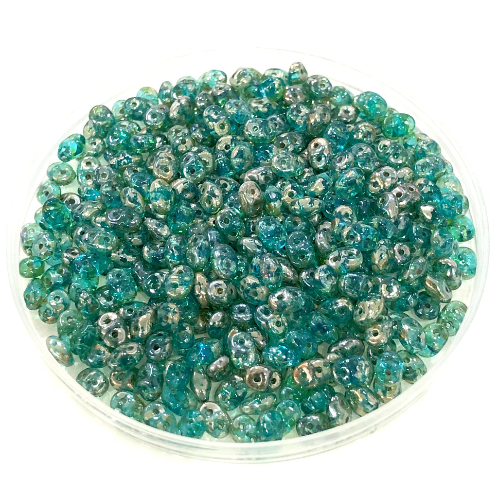 Matubo Superduo Beads 2.5X5mm, Aqua Rembrandt Superduo Beads