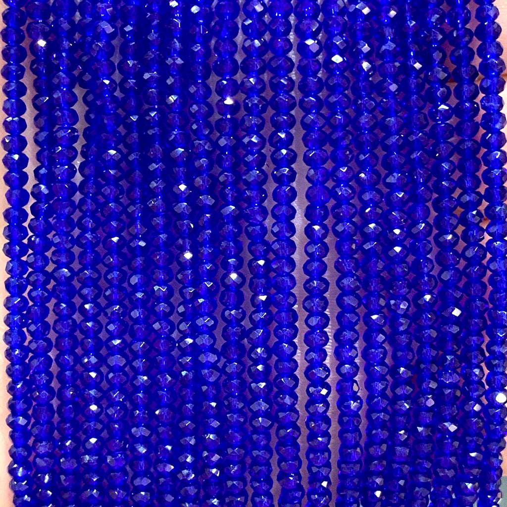 Crystal faceted rondelle - 200 pcs -2mm - full strand - PBC2C74, Crystal Beads, Beads, glass beads, beads crystal rondelle beads