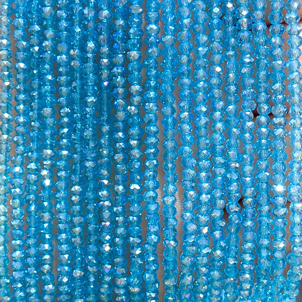 Crystal faceted rondelle - 200 pcs -2mm - full strand - PBC2C76, Crystal Beads, Beads, glass beads, beads crystal rondelle beads