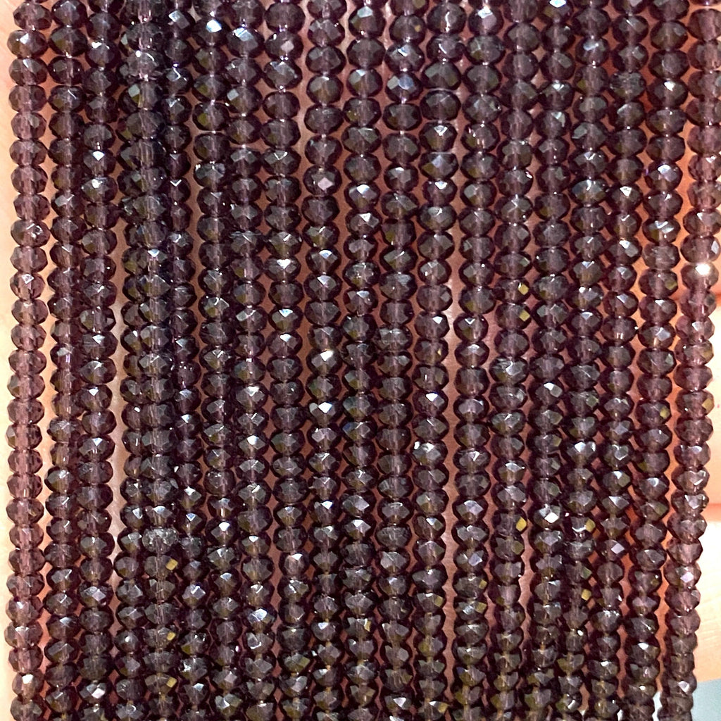 Crystal faceted rondelle - 200 pcs -2mm - full strand - PBC2C75, Crystal Beads, Beads, glass beads, beads crystal rondelle beads