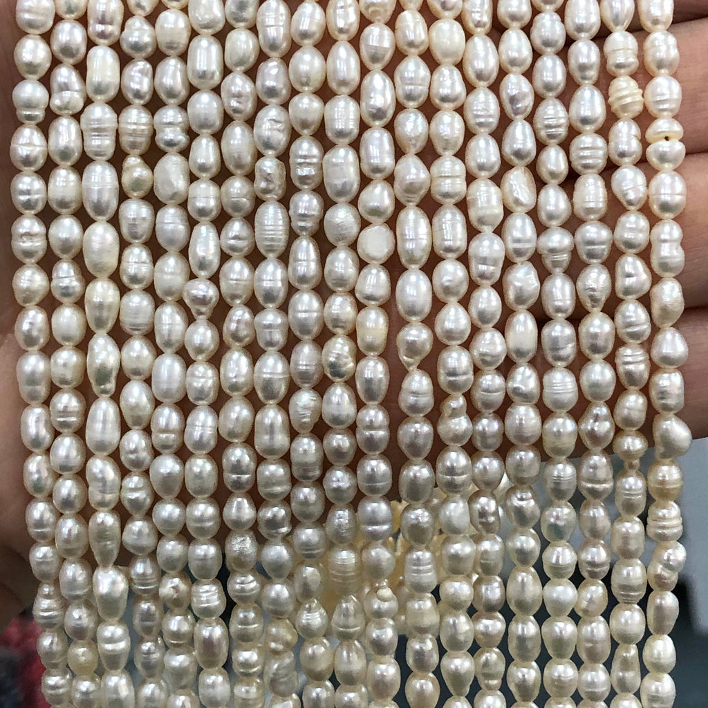 Creamy White Freshwater Pearls, 3,8x 4,5mm, Medium Ivory Baroque Oval Loose Pearls, 16 Inch Strand,