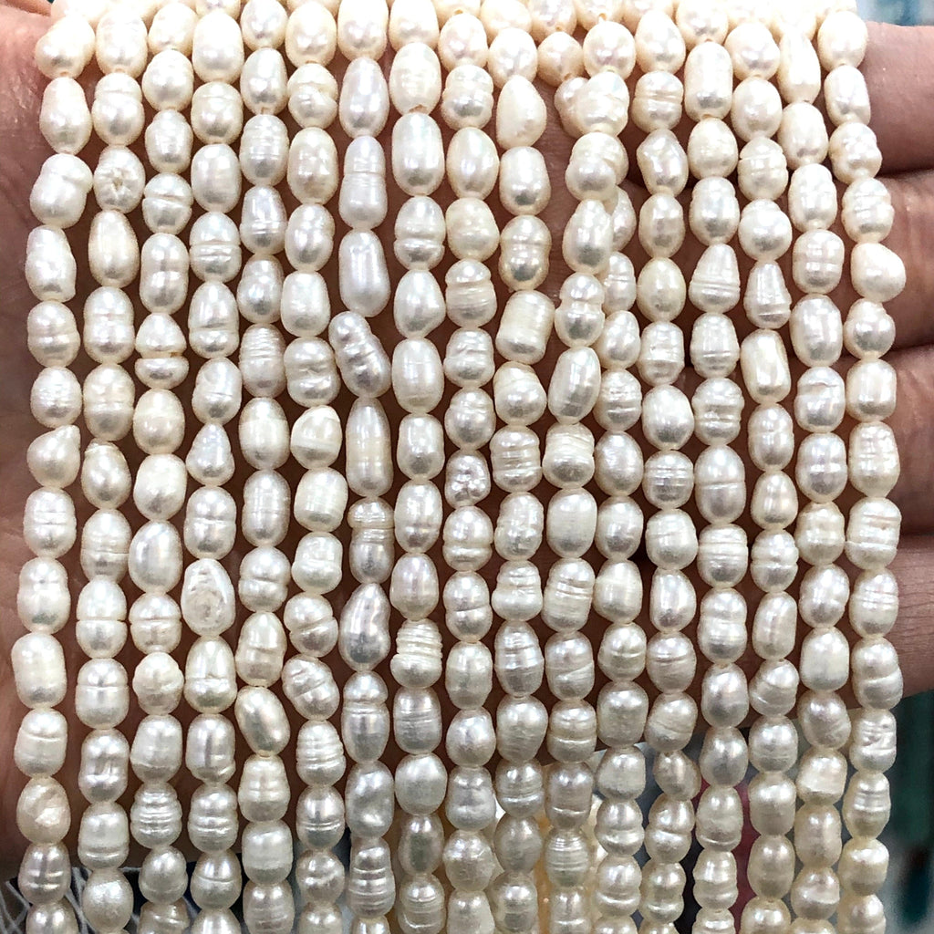 Ivory White Baroque Oval Loose Freshwater Pearls 4x5mm for Jewellery Making,