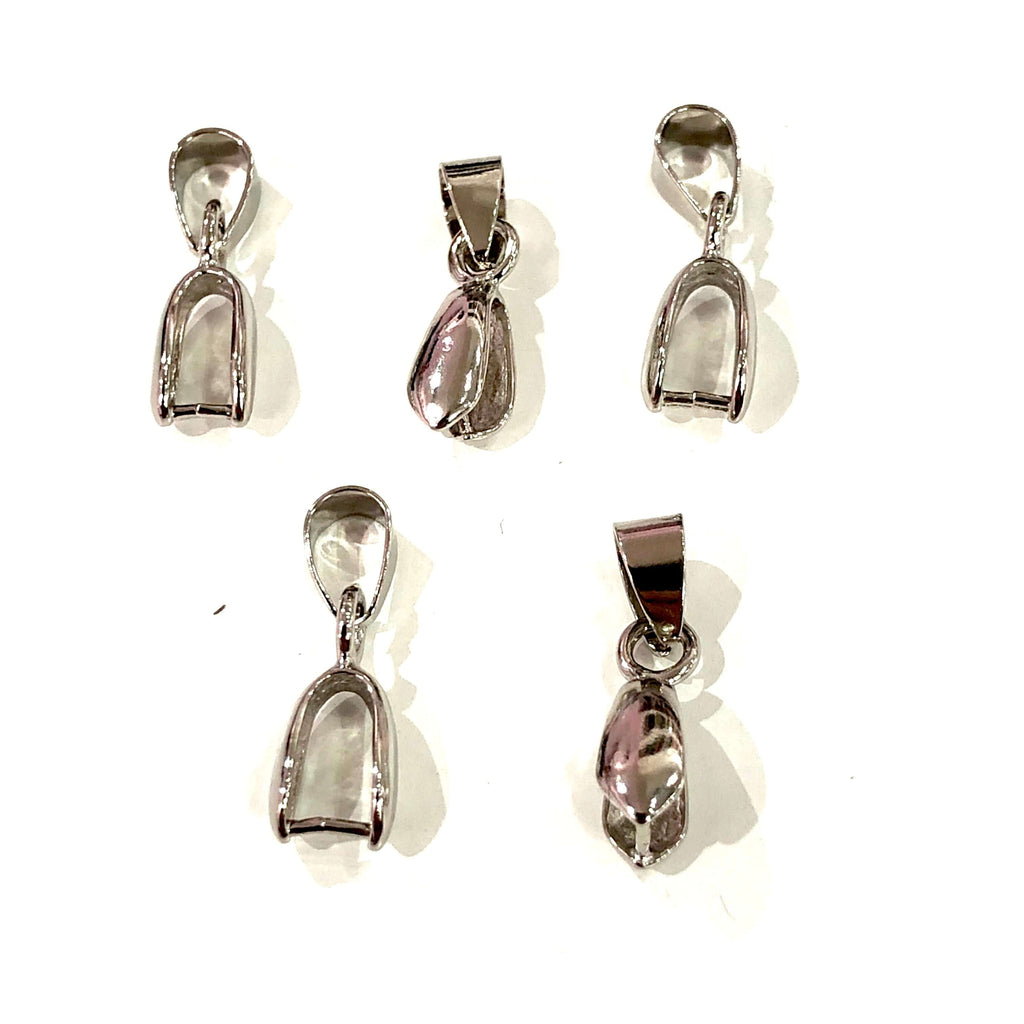 5 x Pinch Bails, Silver Plated, Size 20mm