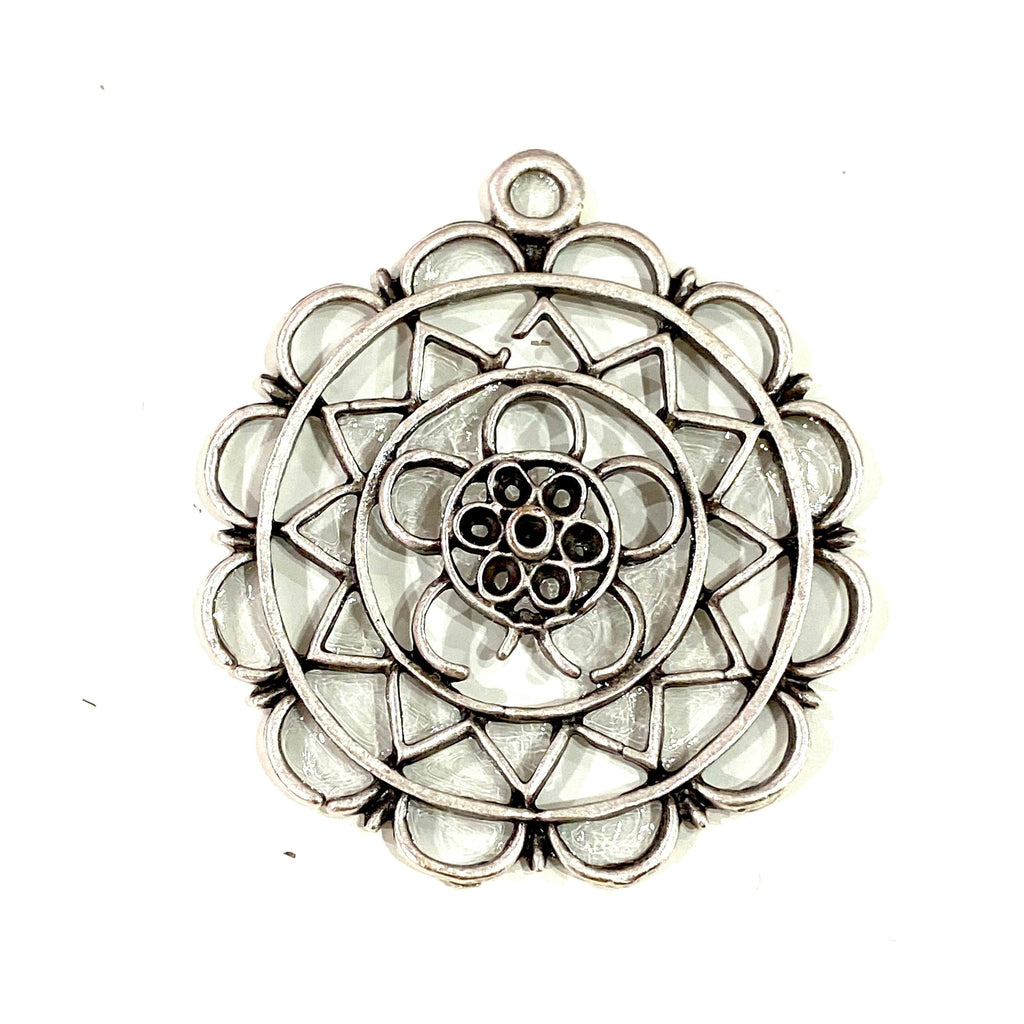 Antique Silver Plated Authentic Pendant, 36mm Silver Pendant