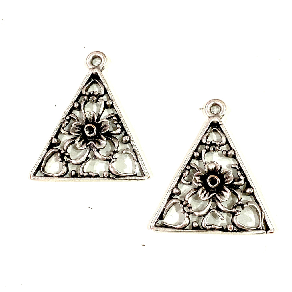 Silver Plated Authentic Triangle Charms, 2 Pcs in a Pack