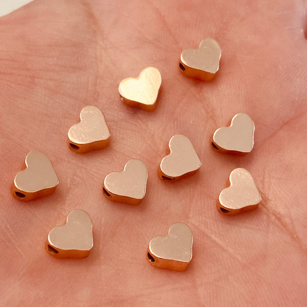Rose Gold Plated Heart Spacer Charms, Rose Gold  Heart Charms