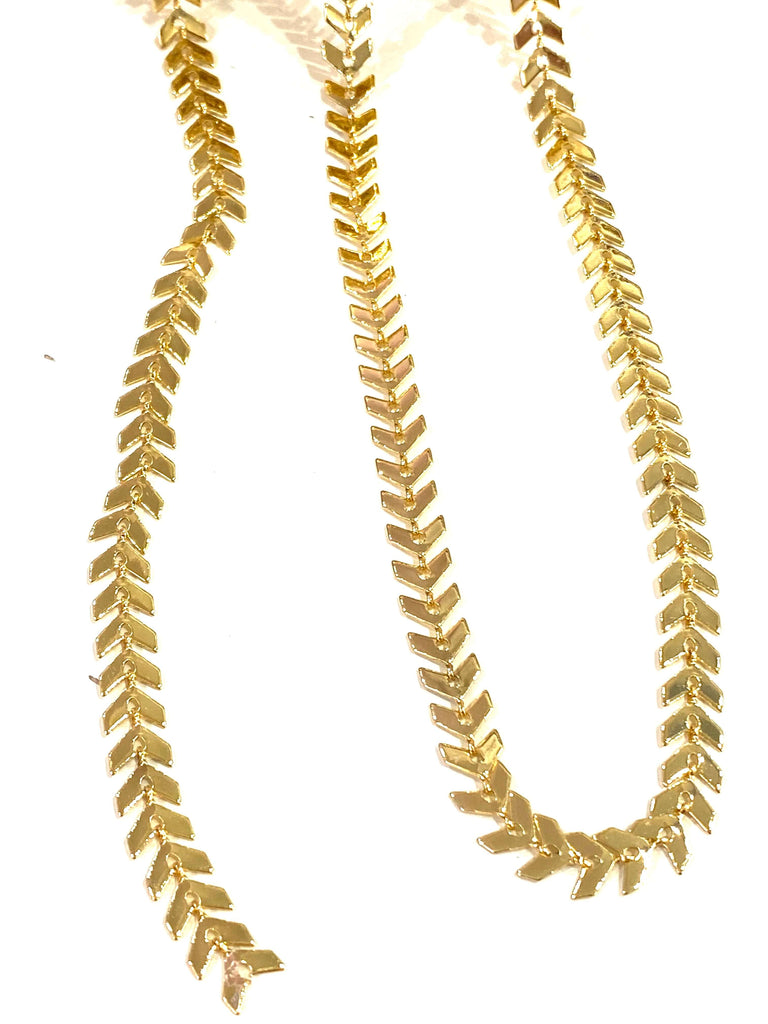 24Kt Shiny Gold Plated Chevron Chain, 6mm Gold Chevron Chain