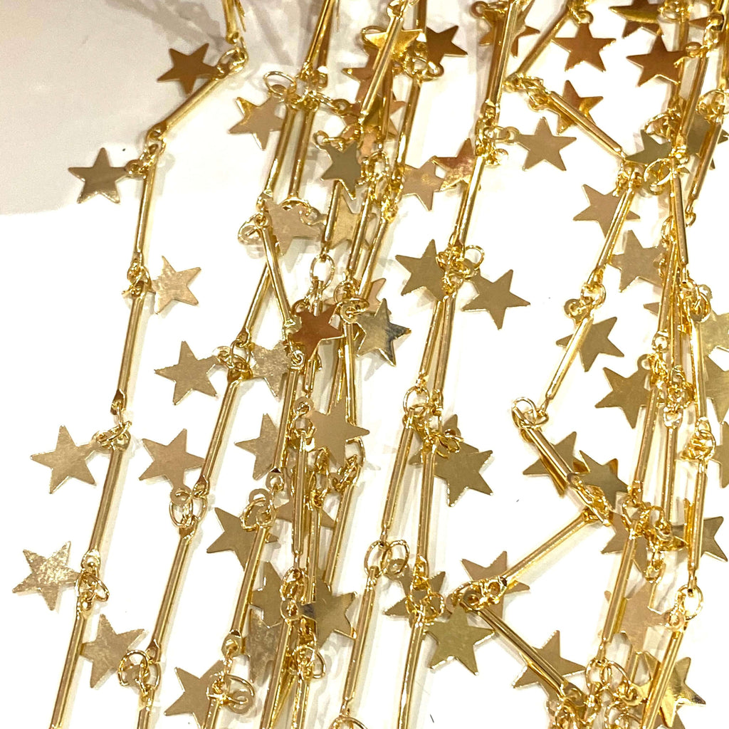 24Kt Shiny Gold Plated Bar Chain with Star Charms, 15mm Bar Chain with 6mm star charms