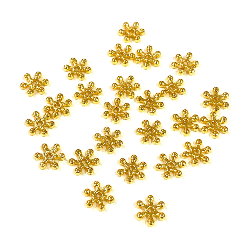 24Kt Gold Plated 7mm Spacer Charms, Gold Spacer Charms