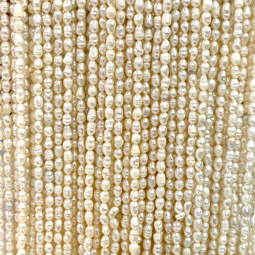 Creamy White Freshwater Pearls, 3x5mm, Medium Ivory Baroque Oval Loose Pearls, 15,5 Inch Strand,Beads,Gemstone Beads,Natural Gemstone