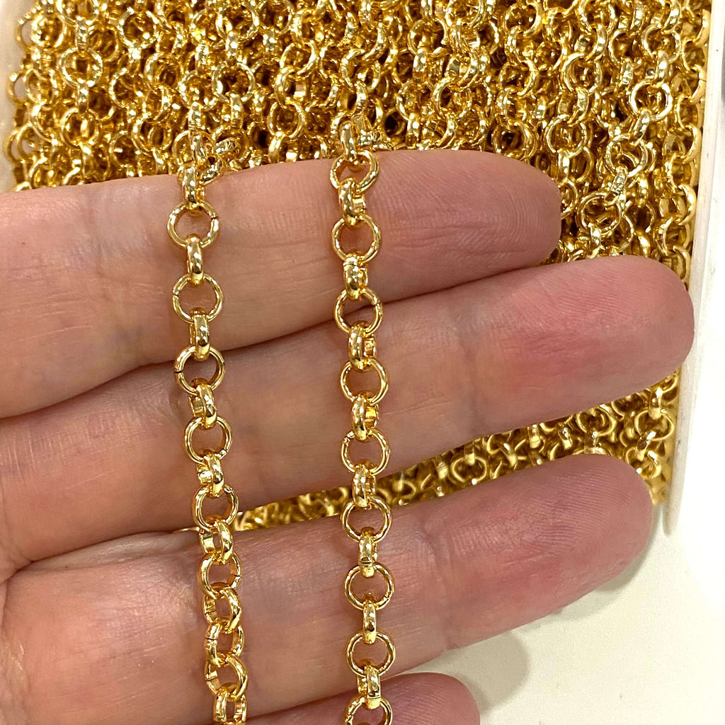 5 Metres 5mm Gold Chain, 24 Kt Gold Plated Chain,  Gold Plated Necklace Chain, Bracelet Chain, Belcher Chain, Gold Chain, Rolo Chain