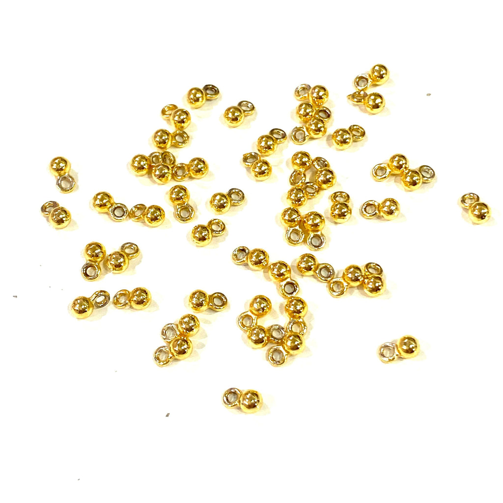 24Kt Gold Plated 3mm Spacer Balls, 50 pcs in a Pack