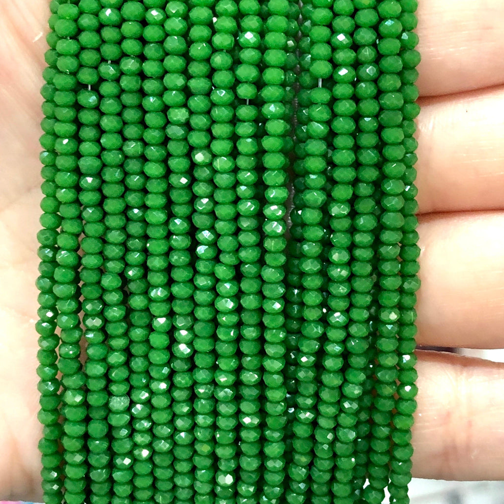 Crystal faceted rondelle - 200 pcs -2mm - full strand - PBC2C59, Crystal Beads, Beads, glass beads, beads crystal rondelle beads
