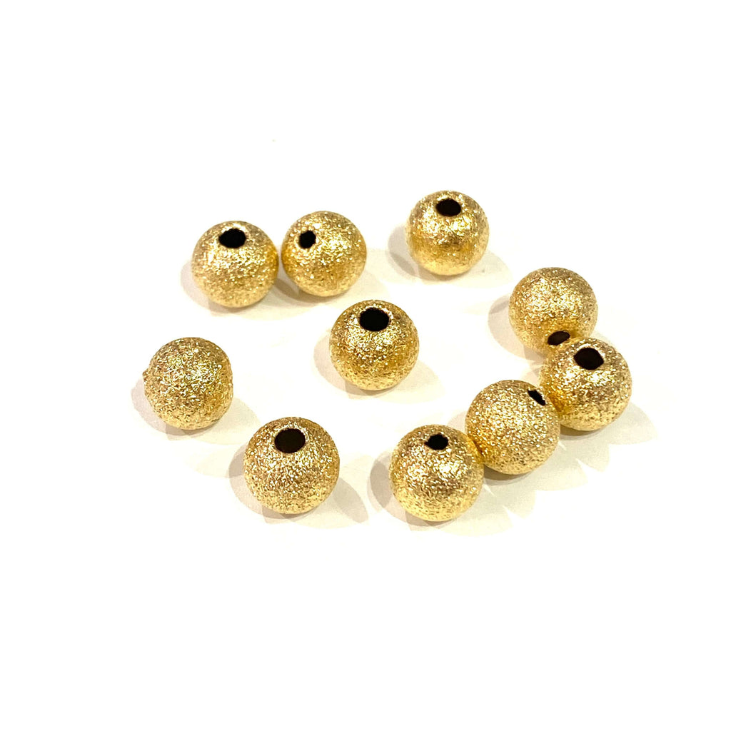 24Kt Matte Gold Plated 6mm Brass Spacer Balls, 10 pcs in a Pack