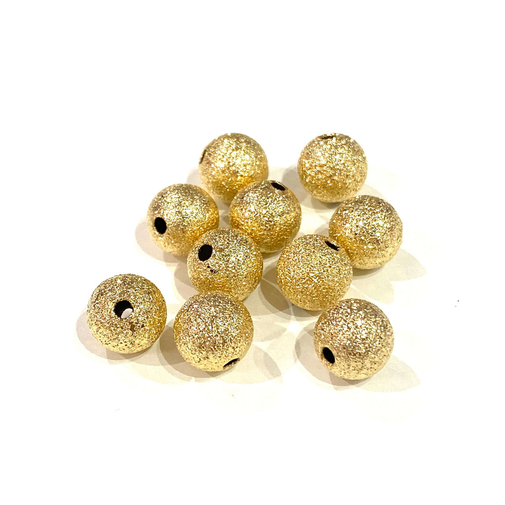 24Kt Matte Gold Plated 8mm Brass Spacer Balls, 10 pcs in a Pack