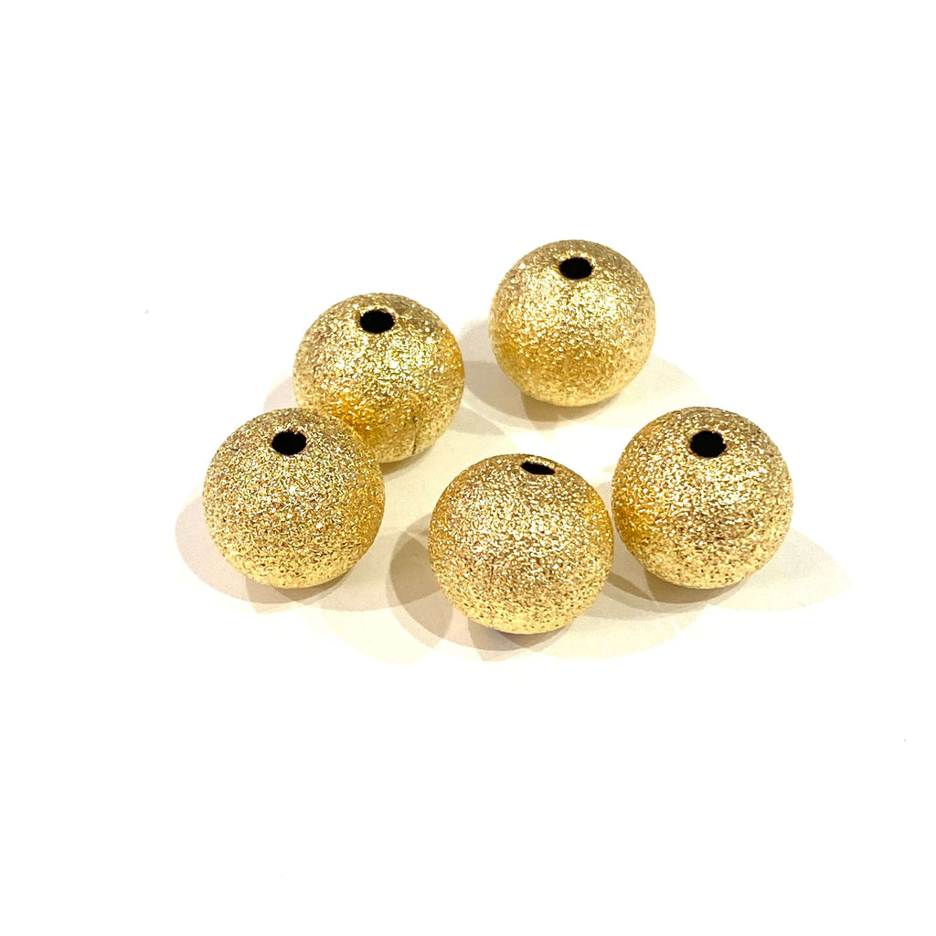 24Kt Matte Gold Plated 10mm Brass Spacer Balls, 5 pcs in a Pack