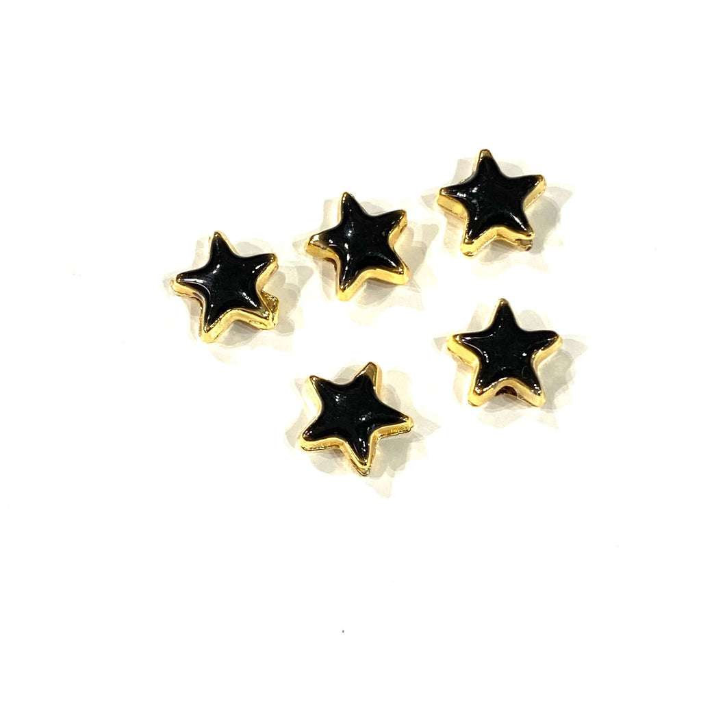24Kt Shiny Gold Plated Black Enamelled Star Charms, 5 pcs in a pack