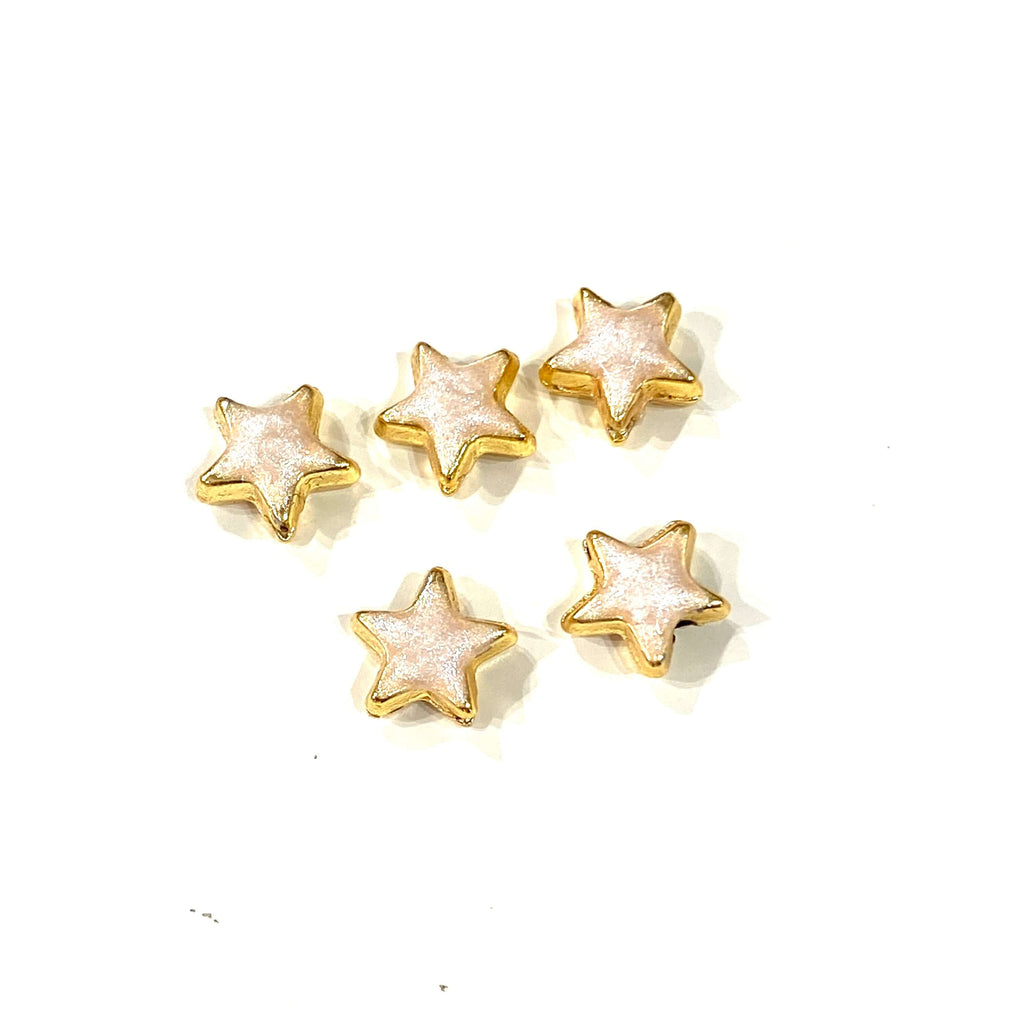 24Kt Shiny Gold Plated Ivory Enamelled Star Charms, 5 pcs in a pack