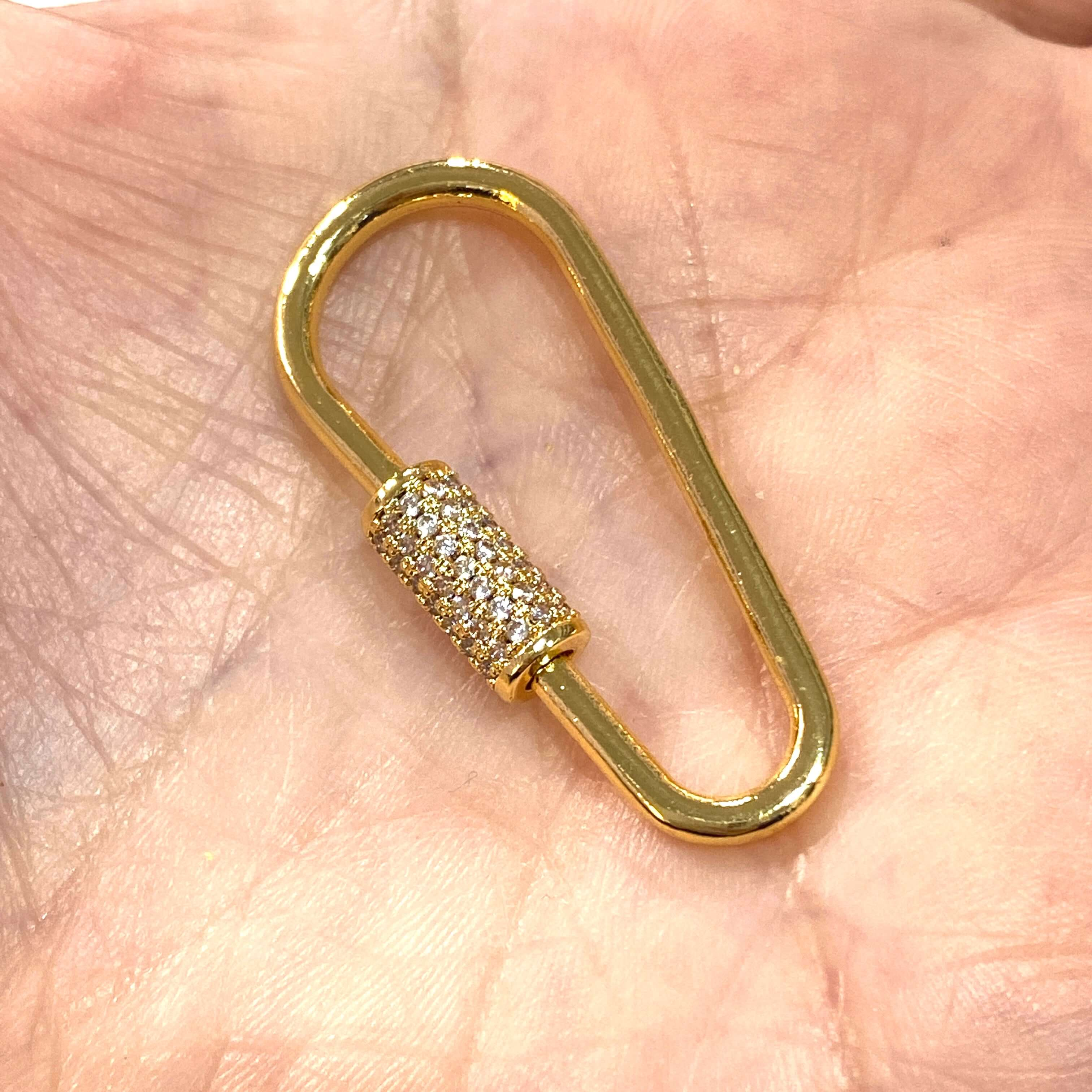 24Kt Gold Oval Screw Clasp 37x16mm 24Kt Gold Plated Carabiner Clasp Micro Pave Gold Screw Clasp