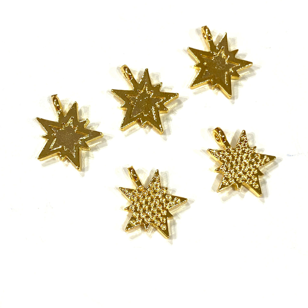24Kt Gold Plated Brass North Star Charms, 5 pcs in a pack