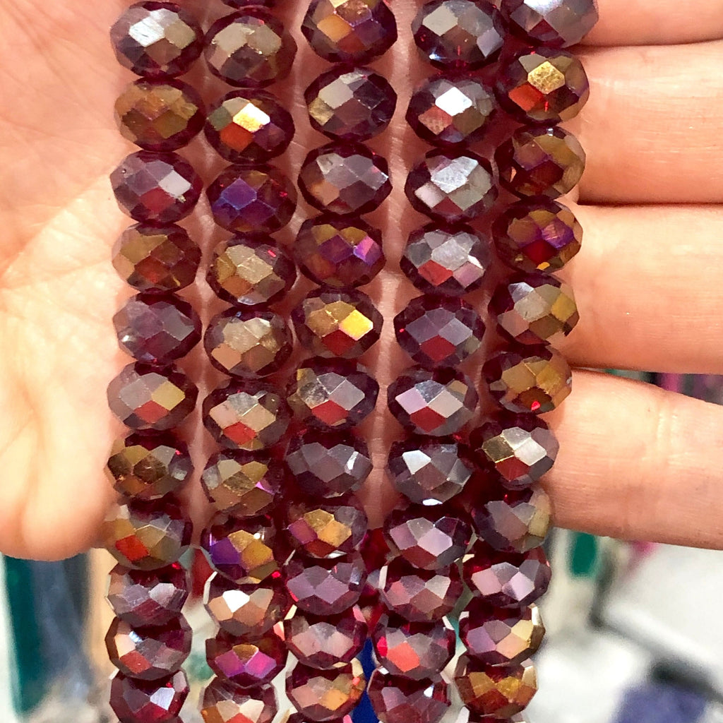 Crystal faceted rondelle - 72 pcs - 10 mm - full strand - PBC10C25,Crystal Beads, Beads, glass beads, beads crystal rondelle beads