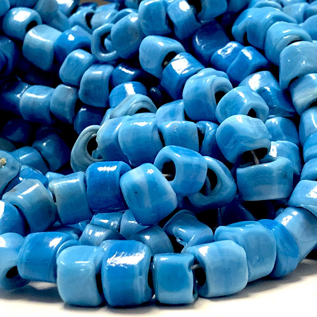 Hand Made Murano Glass Cube Beads, Large Hole Murano Glass Beads, 100 Beads