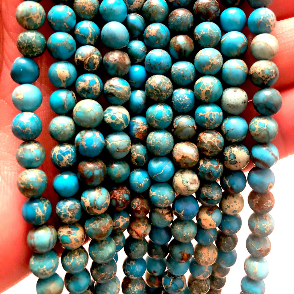 Natural Sea Sediment Jasper 8mm round bead ,48 beads per strand ,