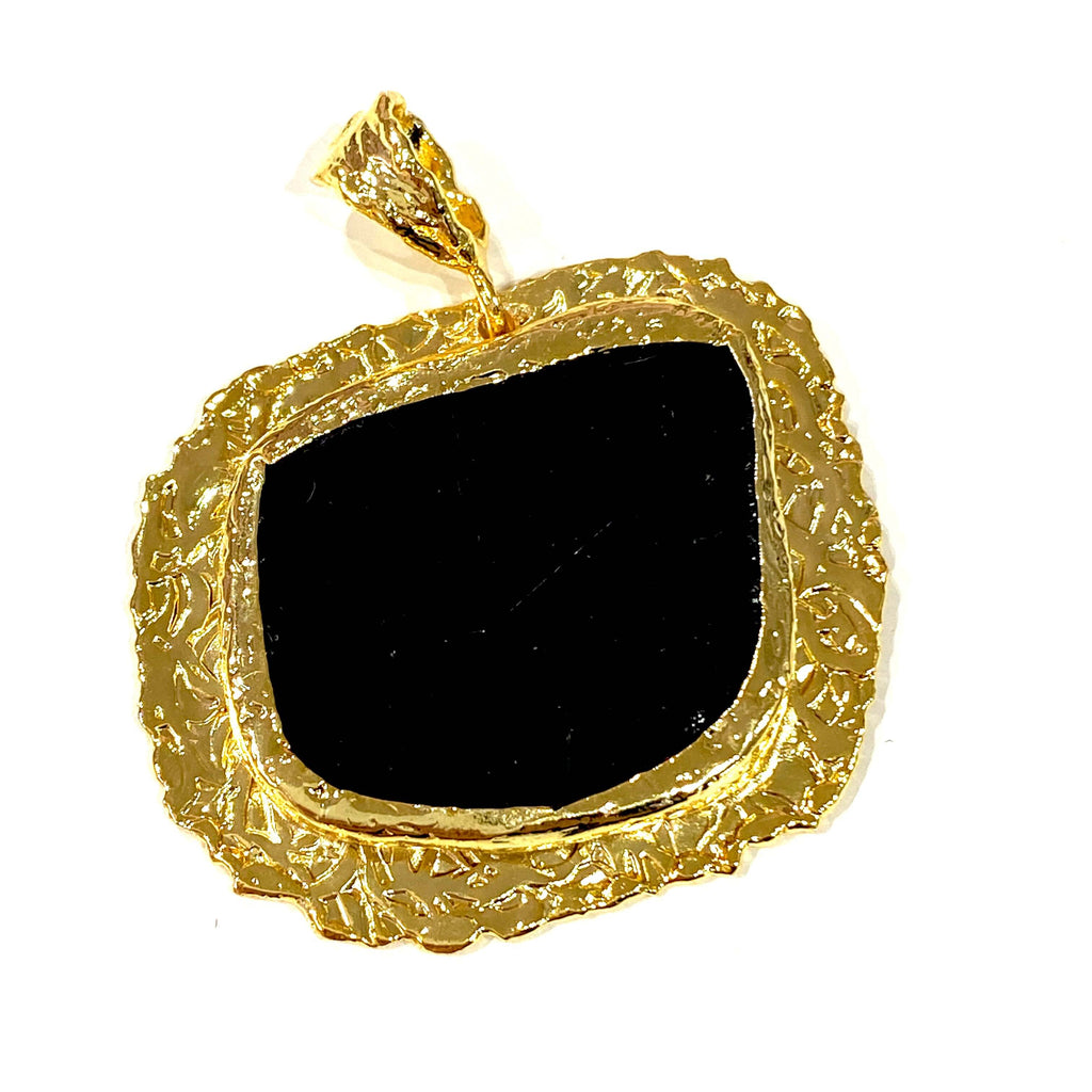 24Kt Gold Plated Black Agate Pendant,37x30mm