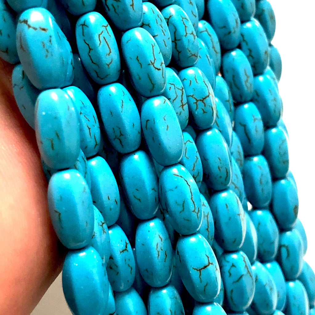 Turquoise Howlite Rice Beads,13x7mm Rice Shaped Howlite Beads, 31 Beads