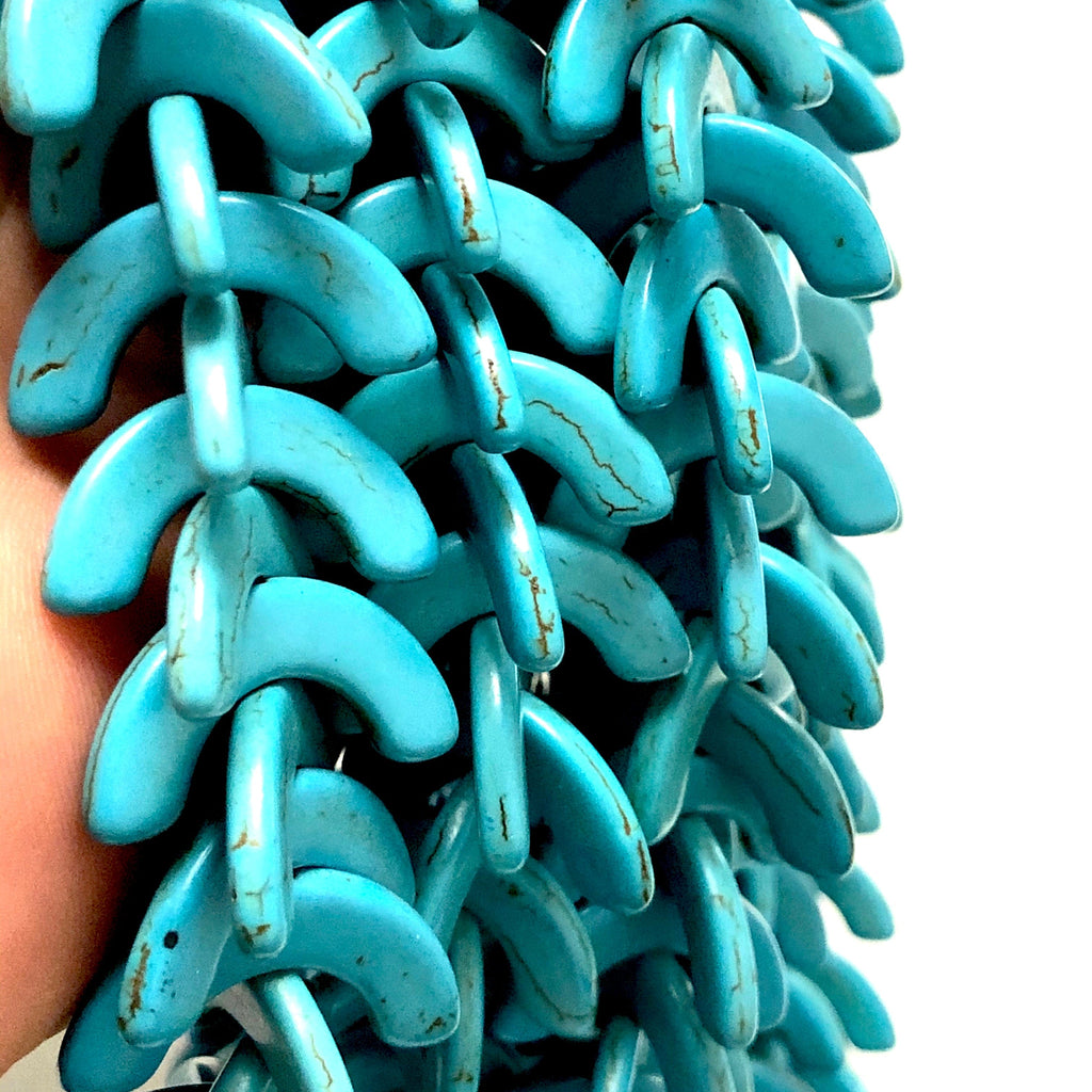 Turquoise Howlite C Beads,25x12mm C Shaped Howlite Beads, 69 Beads