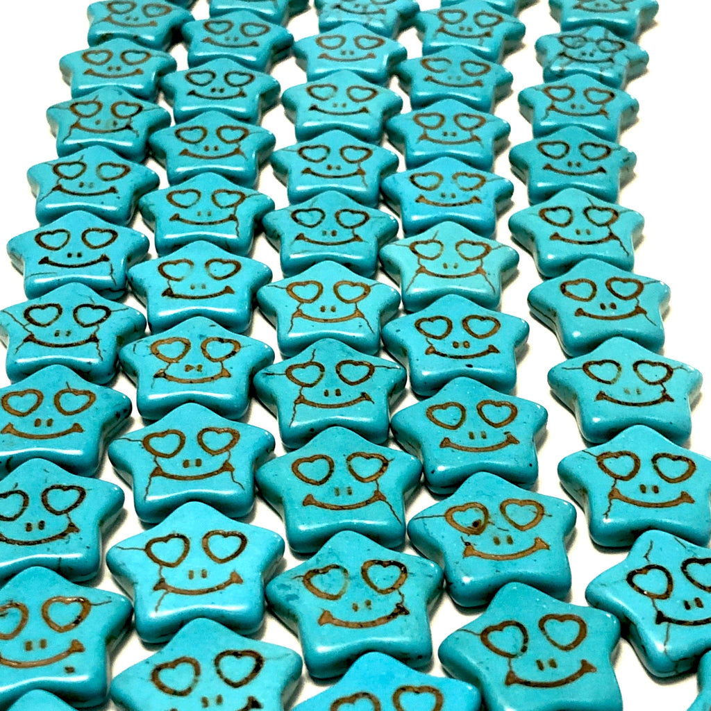 Turquoise Howlite Star Beads,20mm Star Shaped Howlite Beads, 24 Beads