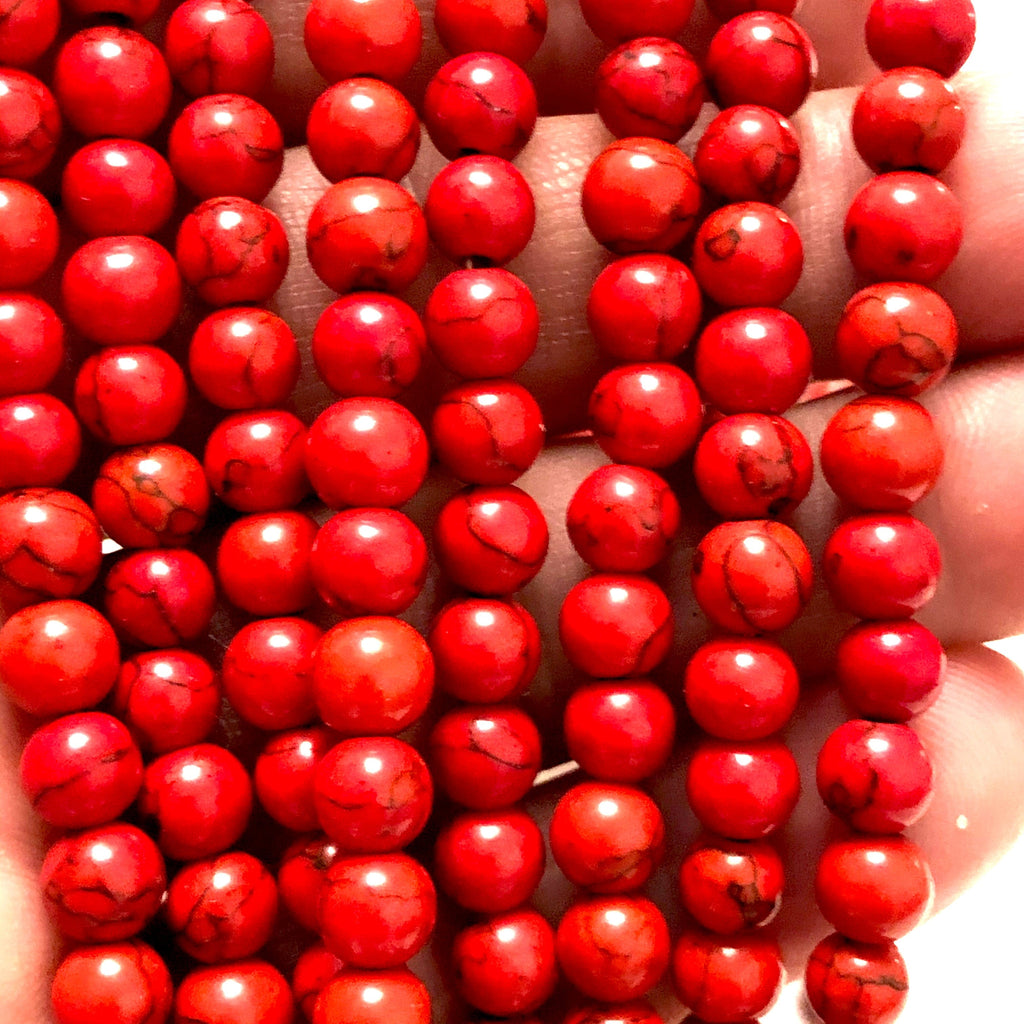 Red Howlite Beads Natural  Red Howlite  6mm gemstone Beads, Gemstone Beads 65 beads per strand