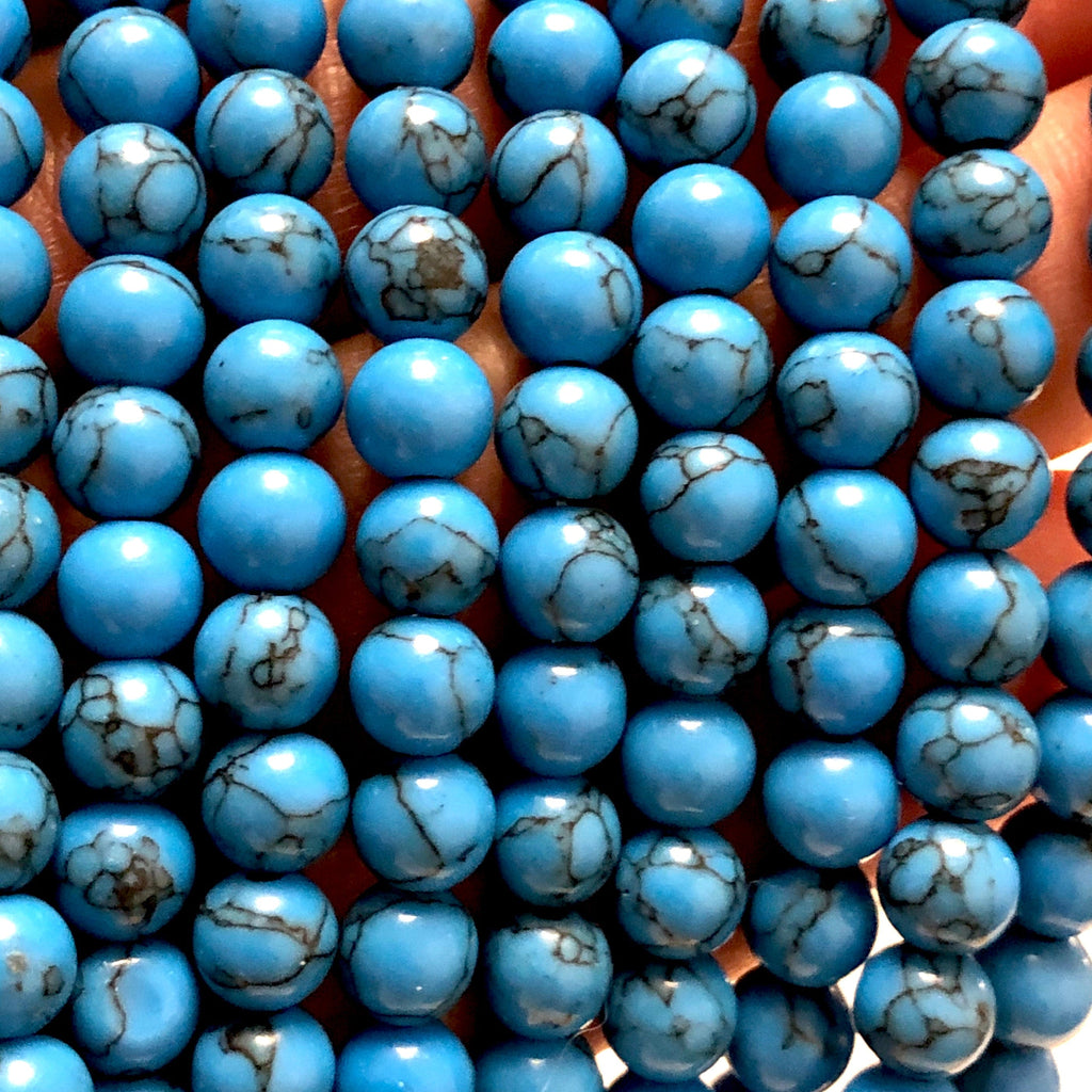 Blue Howlite Beads Natural  Blue Howlite  6mm gemstone Beads, Gemstone Beads 65 beads per strand