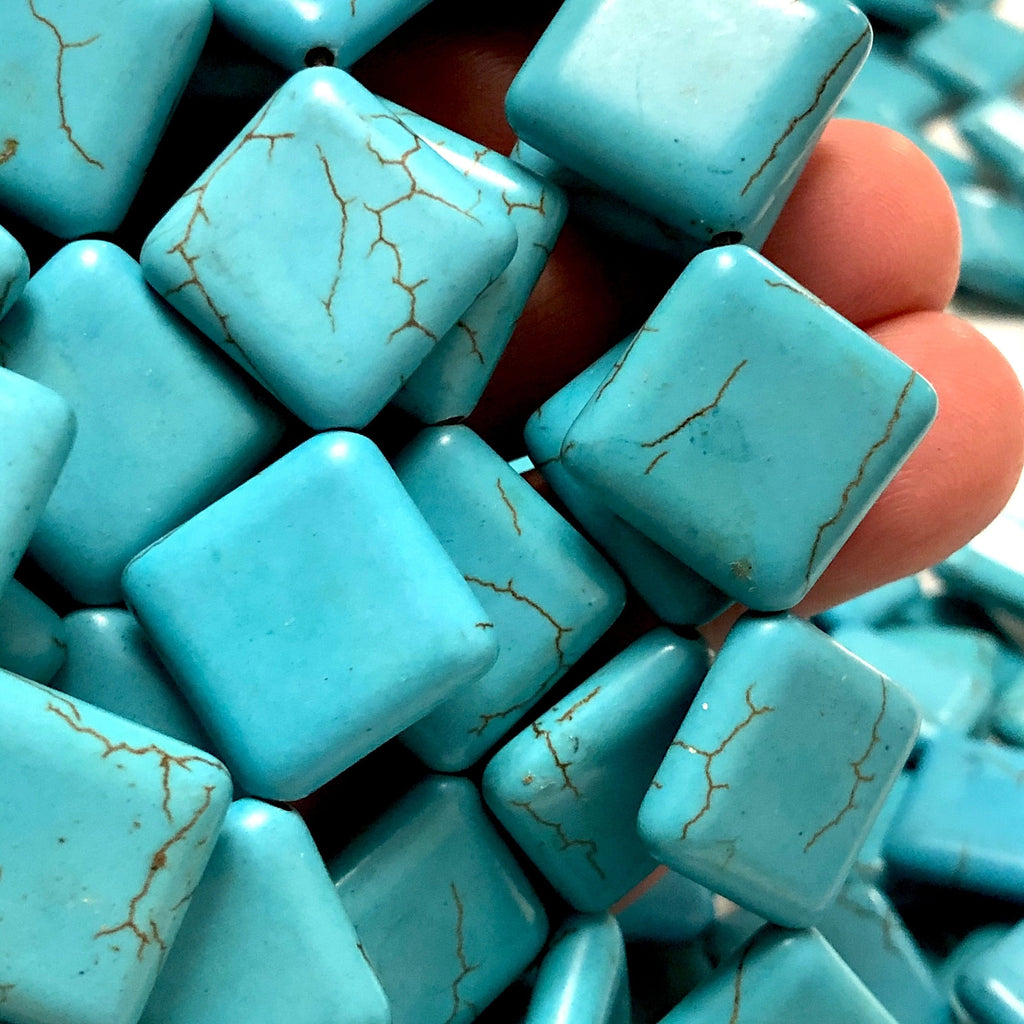 Turquoise Howlite Square Beads,20x15mm Square Shaped Howlite Beads, 19 Beads