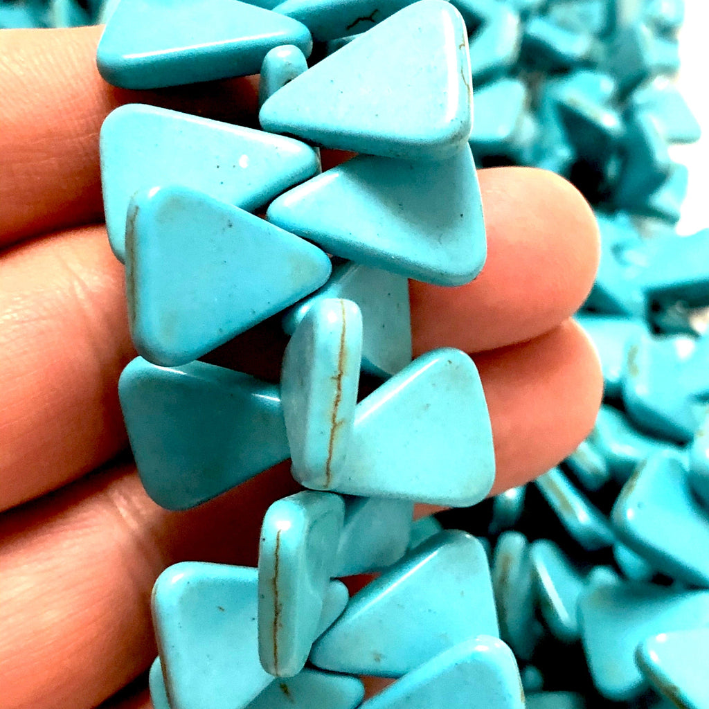 Turquoise Howlite Triangle Beads,18x18x4mm Triangle Shaped Howlite Beads, 88 Beads