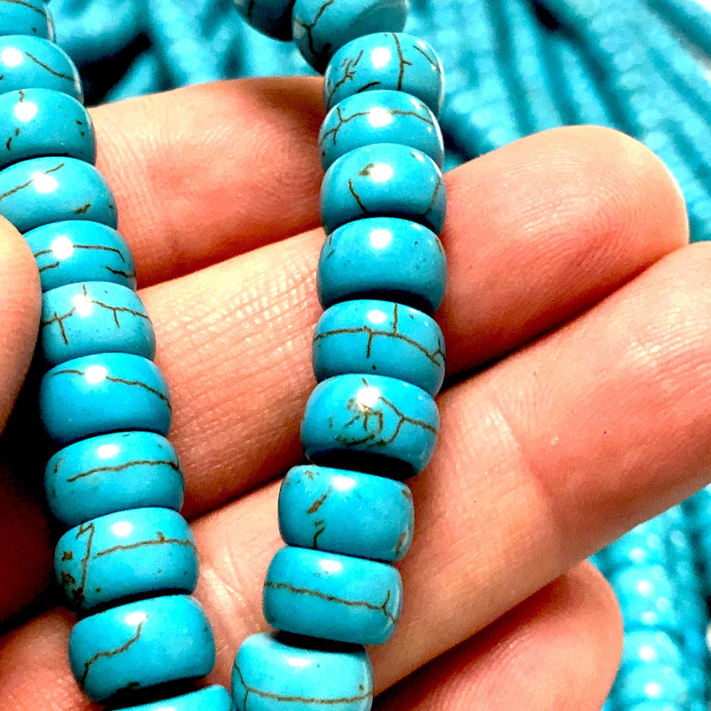 Turquoise Howlite Rondelle Baeads  Rondelle Shaped Howlite Beads, 73 Beads