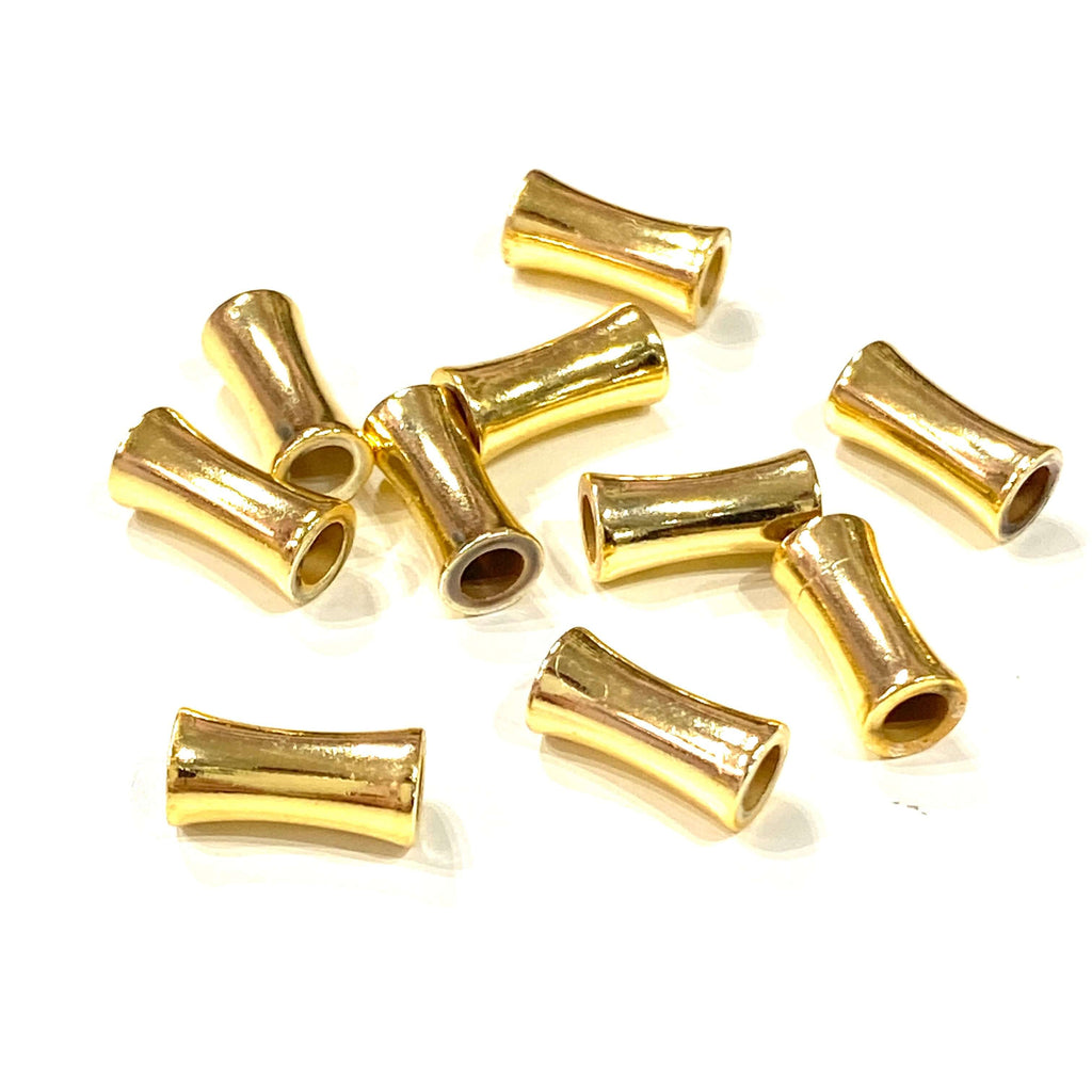 24Kt Gold Plated Brass Spacer Tubes,10 Pcs in a pack