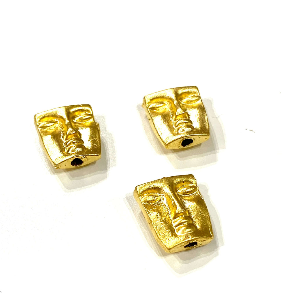24Kt Matte Gold Plated Brass Face Charms, Double Sided Gold Face Spacers,3 pcs in a pack