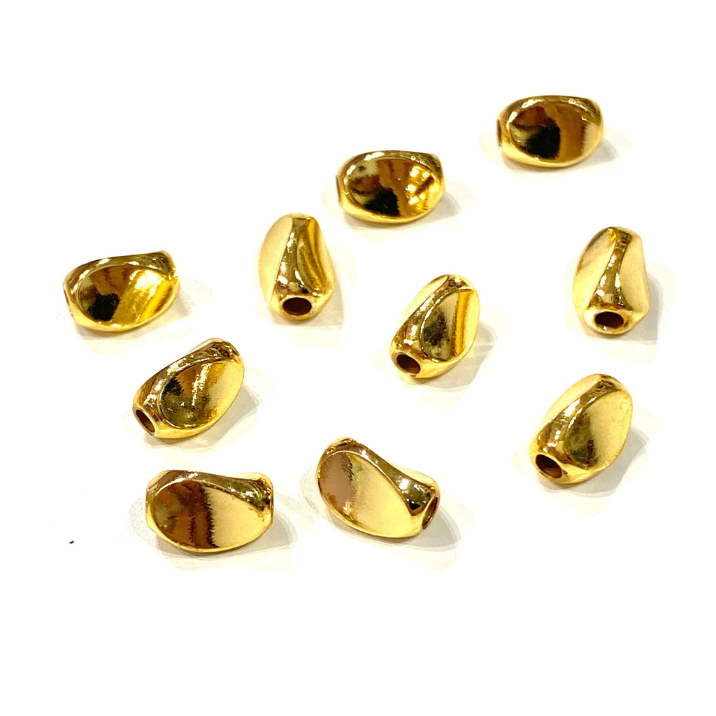 24Kt Gold Plated Brass Spacer, 8x5mm Brass Spacers, 10 Pcs in a pack