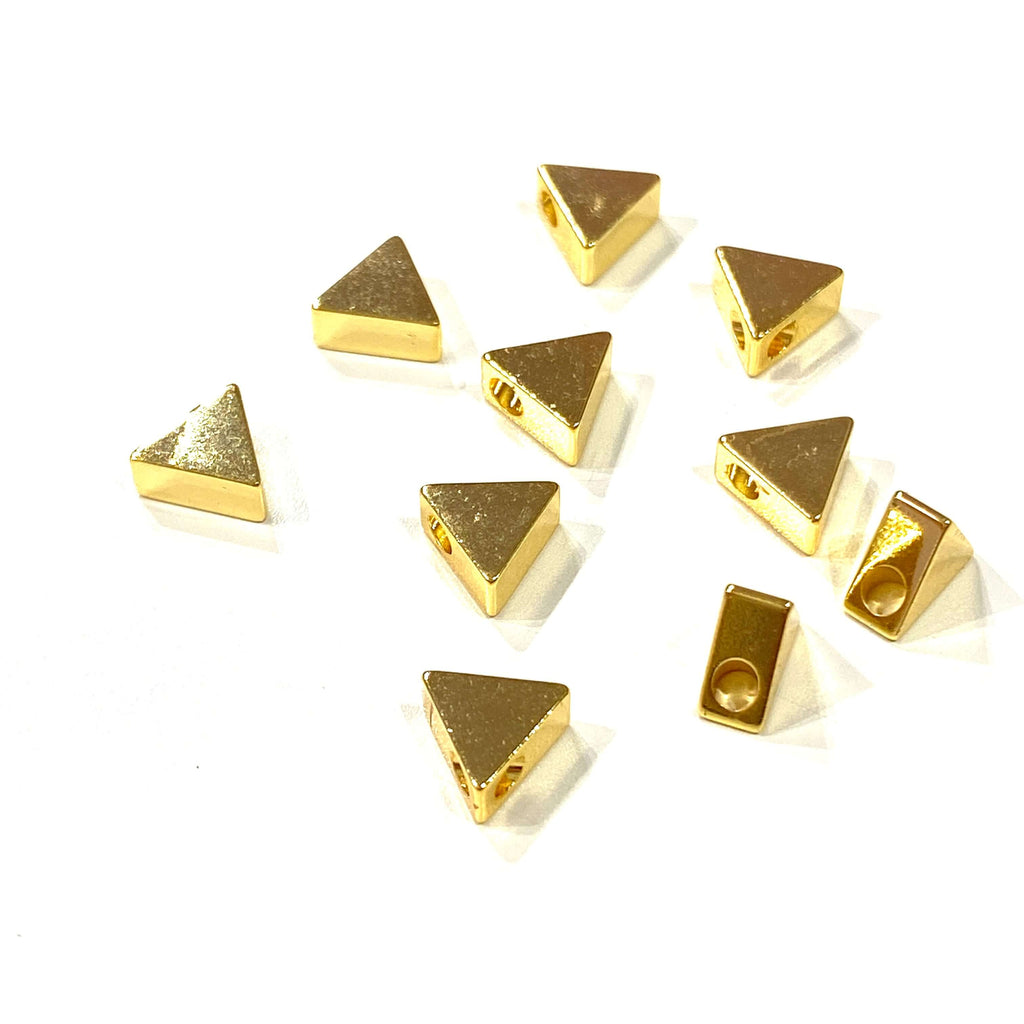 24Kt Gold Plated Brass Triangle Spacer, 6mm Brass Triangle Spacers, 10 Pcs in a pack