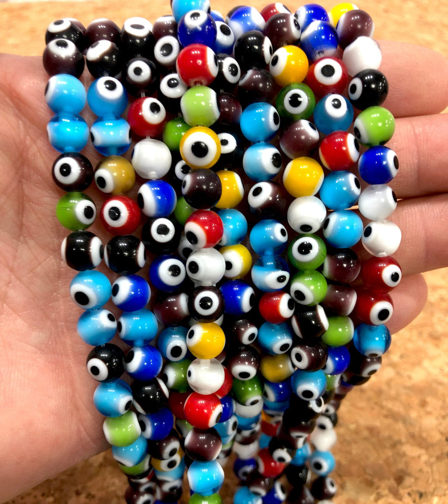Evil Eye Beads, Strand of 48, Round Glass, 8mm Glass Beads,  Lampwork Glass, Evil Eye Jewelry, Lampwork Beads, UK Beading Supply