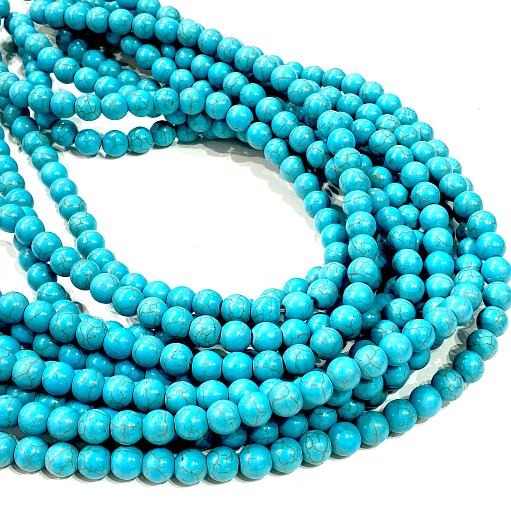 Turquoise Howlite Beads Natural  Turquoise Howlite  8mm gemstone Beads, Gemstone Beads 53 beads per strand